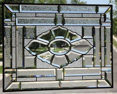 """BEAUTY""Clear Beveled Stained Glass Panel 28 5/2""-20 5/8""( 73 x52cm)"