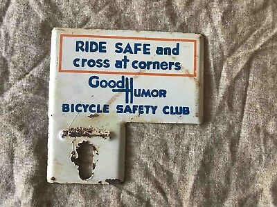 Vintage Ride Safe Bicycle Safety Club Tag Topper Ad from Good Humor Ice Cream
