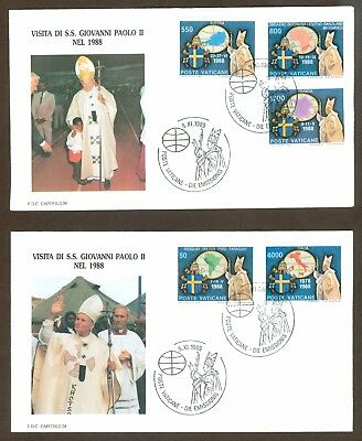 Vatican City Sc# 845-9, Journeys of John Paul II in 1988 on 2 First Day Covers