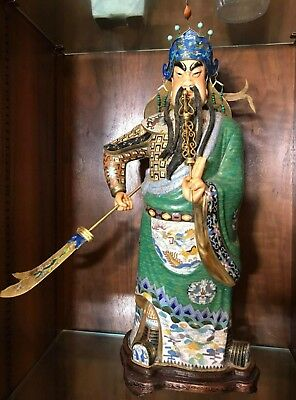 Large antique Chinese enamel silver cloisonne imperial figure pre 1950 #1 of 3