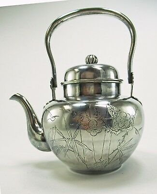 Asian / Korea / Japan Solid Silver Tea Pot Engraved with Birds, Bamboo & Flowers