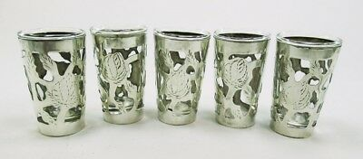 Sterling Silver Overlay Cordial Glasses Set of 5 Hecho en Mexico MG 925 Floral