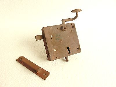 Architectural Salvage Large Functional Antique Door Lock NO KEY with Keeper