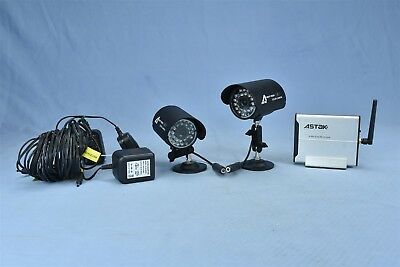 ASTAK 2 NIGHT VISION COLOR CAMERAS + WIRELESS RECEIVER with CORDS CM918T #04632