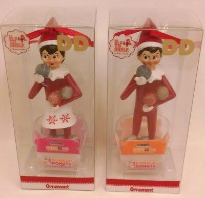 Dunkin Donuts -Elf On The Shelf (Boy & Girl) - (2017) Ornaments -Clear Pkg.- New