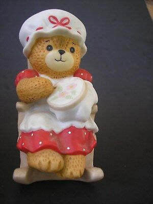 Enesco Lucy and Me Grandma Teddy Bear Rocking Chair Needlepoint 1982 Lucy Rigg