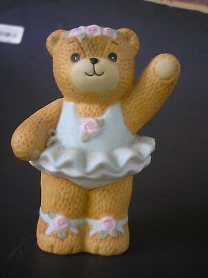 Lucy & Me Bear - Enesco - 1984 - BALLERINA BEAR IN BLUE WITH PINK ROSE TRIM