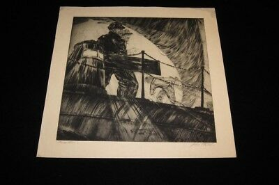 Original John Stoll Marine Nautical Etching Print California
