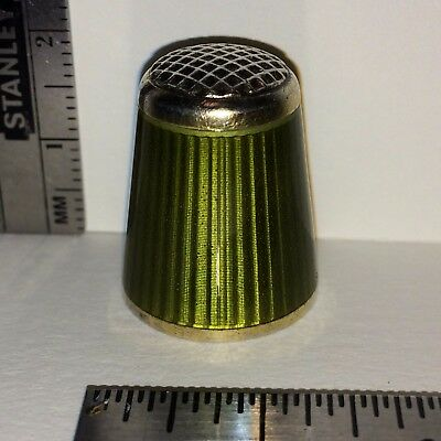 antique Norway Green Enamel Sterling Sewing Thimble hallmarked