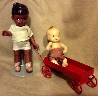 """Vintage JAPAN BISQUE DOLL 4 3/4"""" brown Black  Girl Baby 3"""" Jointed Red Wagon"""