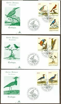 Vatican City Sc# 830-7, Birds of the New World on 3 First Day Covers