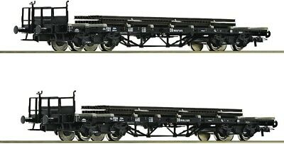 ROCO - 76194 - FLATBED WAGON WITH RAIL set 2 - HO Gauge