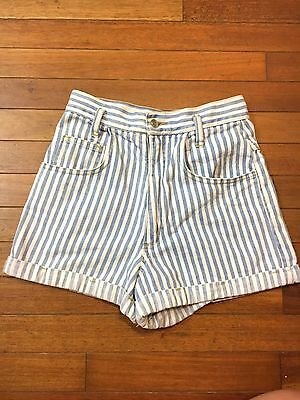 Contempo Casuals Denim Stripe Shorts Jean Cuff High Waist Vintage Small