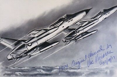 """operation Spring High"" F-105 Vietnam Pilot, Terrific Signed Image Of His Plane"