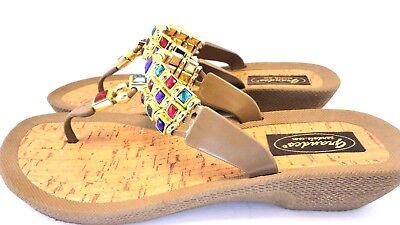 b5e031272dd7 Grandco Sandals Slip On Womens Gold Jeweled Dancer Thong 25748 Sz US 8 EU 39