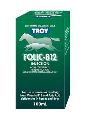 Troy Folic B12 100mL , Vitamin B12 Injection Supplement For Horses & Dogs