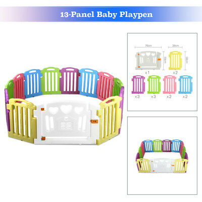 13-Panel Baby Playpen Kids Safety Play Center Yard Home Indoor Outdoor Pen Fence