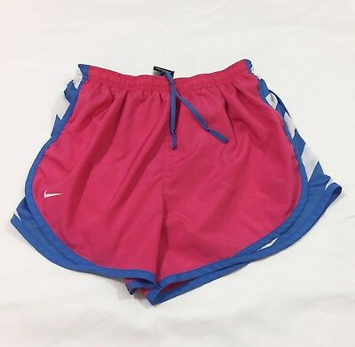 Nike Womens Pink White Blue Tempo Lined Running Athletic Dri Fit Shorts Medium M