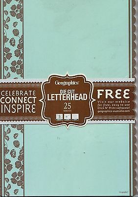 Geographics A4 Computer Paper 90gsm 25 sheets BLUE & BROWN SCALLOPED **44416**