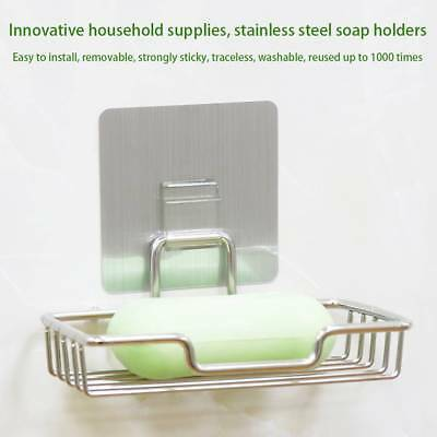 Stainless Steel Suction Wall Soap Dish Holder Bathroom Shower Cup Basket Tray