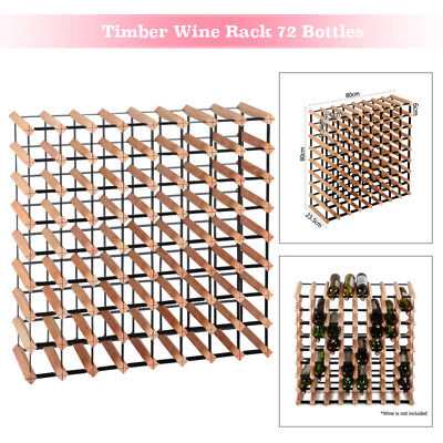 72 Bottle 9 Tier Timber Wine Rack Storage Wooden Display Organizer Vintry Stand