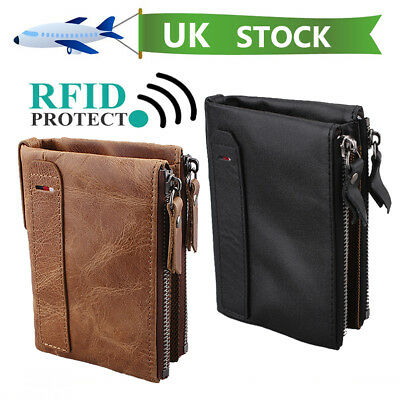 Mens 100% Genuine Soft Leather Wallet Card Holder Purse with Zip RFID Protection
