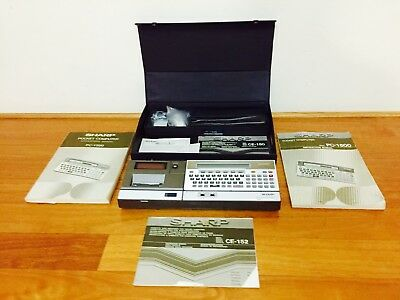 Vintage Sharp CE 1500 Pocket Computer with Case Instructions Accessories Japan