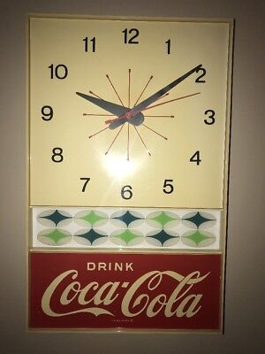 REAL VINTAGE Drink Coca Cola Clock works great SUPER CLEAN