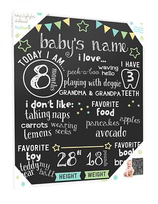 Baby's Monthly Chalkboard, Neutral, Black  Stars Chalkboard