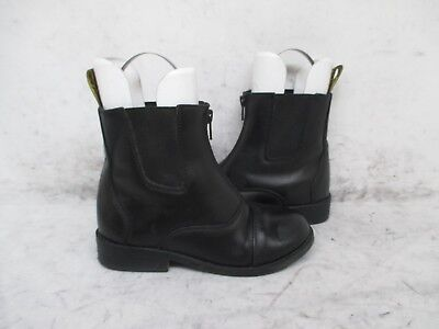 Saxon Black Front Zip Paddock Boots Youth Size 1