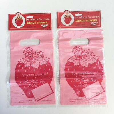 Vintage Retro NEW Strawberry Shortcake Party Goodie Treat Lolly Bags - 2 Packs