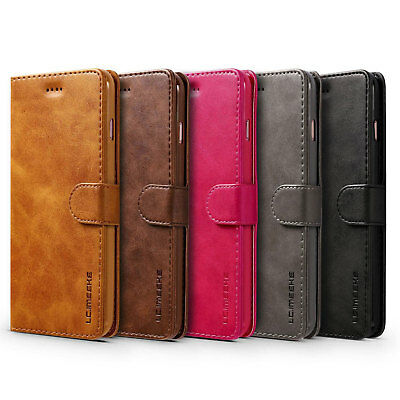 Luxury Leather Flip Wallet Card Holder Case Cover For iPhone X Samsung S8 Huawei
