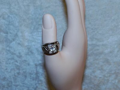 Mens Womens Bold Vargas Ring Silver Tone 18KT H G.E Yellowish Clear Stone VTG