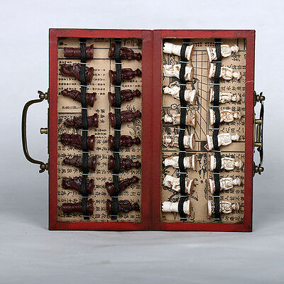 Chinese Army 32 Pieces Chess Set Leather Wood Box Traditional Game