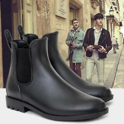 Mens Casual Chelsea boots ankle Punk high top rain boots shoes outdoor pull on