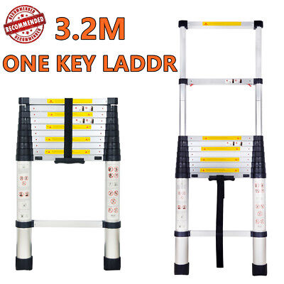 3.2METER Telescopic Aluminium Ladder ATTIC LOFT FOLDING ONE KEY EXTENSION LADDER