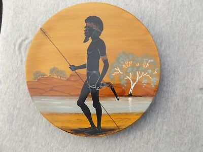 Vintage hand painted Aboriginal wooden plate
