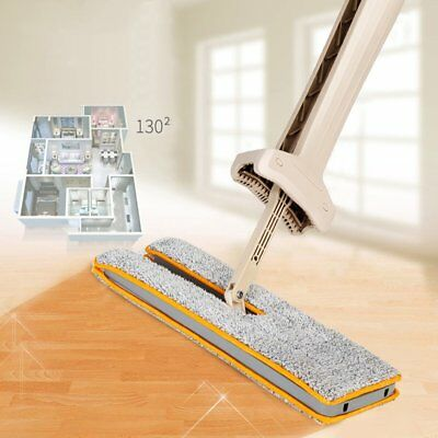 Self-Wringing Double Sided Flat Mop Telescopic Handle Mop Floor Cleaning Tool GN