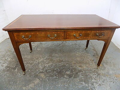 inlaid,mahogany,desk,drawers,writing desk,table,castors,banded,antique,edwardian