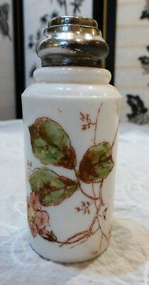 Victorian Aesthetic Movment Milk Glass Transferware Ladies Powder Shaker Jar
