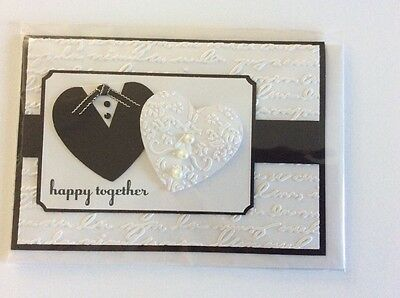 Handmade heart wedding card
