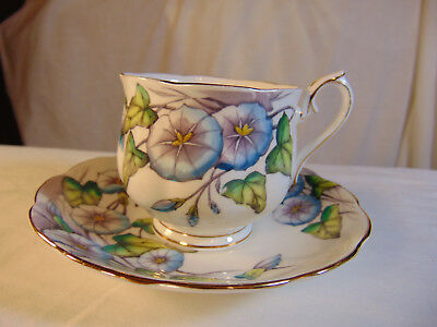 "Royal Albert English bone china cup/saucer ""Flower of the Month"" ""Morning Glory"""