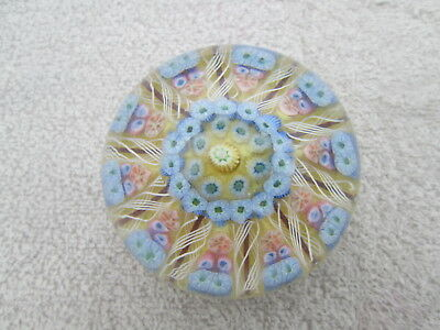 Paperweight John Deacons 10 spoke Cartwheel latticinio & millefiori canes yellow