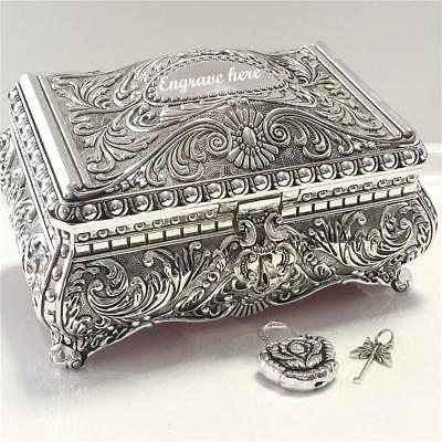 EXQUISITE Embossed Antique/Vintage Style Silver Plated Jewellery Box Padlock Key