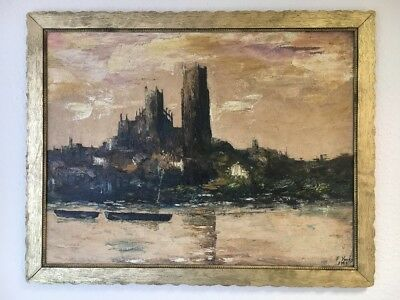 Very Large Oil Painting In Gold Gilt Frame Frame Ely Cathedral Signed