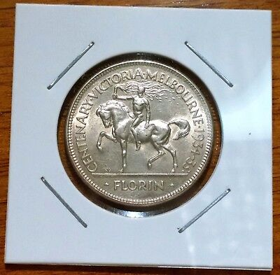 1934-35 Melbourne Centenary sterling silver Florin - high grade