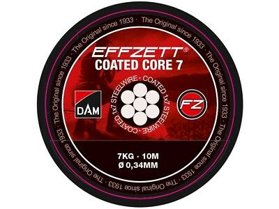 NEW 2018! D.A.M Effzett Coated Core 7 / 10m / 7-24kg / 1x7 steel leader wire