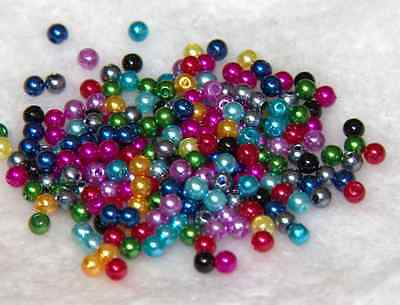 500Pcs 4MM Quality  Acrylic Round Pearl Spacer Loose Beads DIY Jewelry