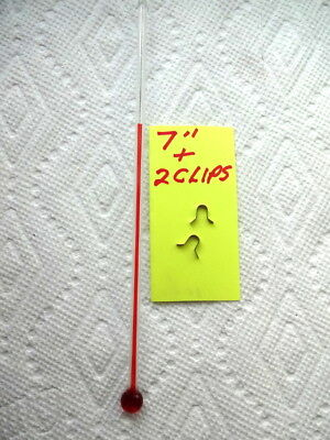 One Rare 7 Inch Glass Replacement Thermometer Tube With Red Liquid Plus 2 Clips