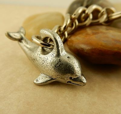 Adorable Antique Vintage Pewter 3D Dolphin keychain, key tag